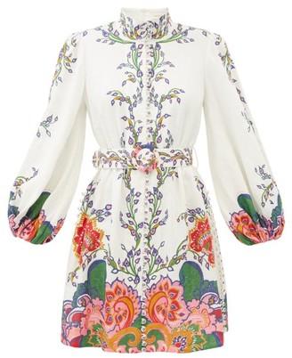 Zimmermann Lovestruck Balloon-sleeve Floral-print Linen Dress - White Print