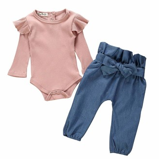Snlaevx Baby Girls Cute Set Newborn Kids Ruffle Long Sleeve Romper Bodysuit+Denim Jeans Pants 2PC Outfits