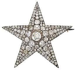 Renee Lewis Women's Platinum, 18K Yellow Gold & Antique Diamond Star Brooch