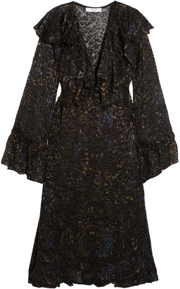 IRO Ruffled Devore-chiffon Dress