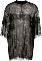 Vera Wang oversized sheer lace T-shirt