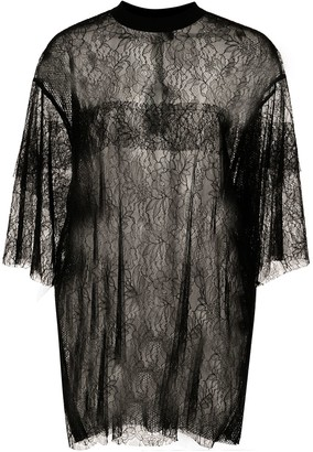 Vera Wang oversized sheer lace T-shirt