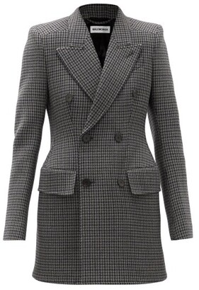 Balenciaga Hourglass Double-breasted Check Wool Blazer - Grey Navy