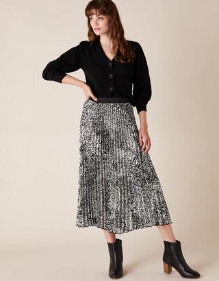Monsoon Animal Print Pleated Midi Skirt Black