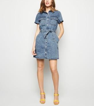 New Look Acid Wash Denim Utility Shirt Dress
