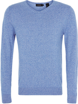 Oxford Cotton V-Neck Knit Blue X