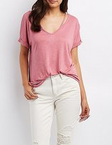 Charlotte Russe Strappy Cut-Out Boyfriend Tee