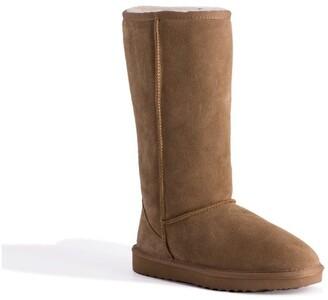 Aus Wooli Ugg Tall Zip-Up Sheepskin Boot - Chestnut/Tan Tan