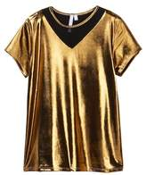 Good Luck Girl Metallic Mesh Inset Tee (Big Girls)
