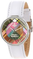 Vivienne Westwood Women's VV020WH Tartan Swiss Quartz White Leather Strap Watch