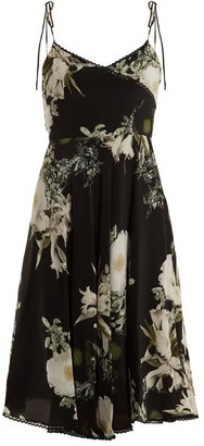 Athena Procopiou - In The Still Of The Night Floral-print Silk Dress - Womens - Black Print