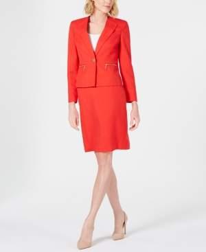 Le Suit One-Button Zipper-Pocket Skirt Suit