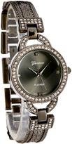 Geneva Platinum Gunmetal Crystal Bezel Bracelet Watch