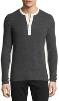 Ovadia & Sons Contrast-Trim Merino Waffle Knit Henley, Gray