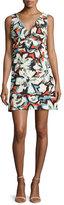 Milly Sleeveless V-Neck Gardenia-Print Mini Dress, Multi