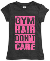Urban Smalls Charcoal 'Gym Hair Don't Care' Fitted Tee - Toddler & Girls