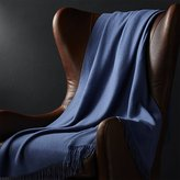 Crate & Barrel Lima Alpaca Denim Blue Throw