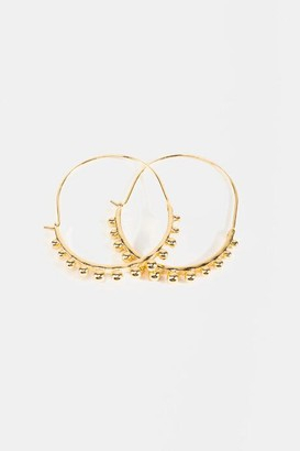 francesca's Amy Beaded Oblong Hoops - Gold