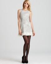 Aqua Tweed Dress - Sleeveless with Fringe Hem