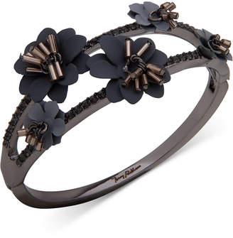 Jenny Packham Hematite-Tone Crystal & Imitation Pearl Flower Bangle Bracelet