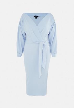 Missguided Plus Size Blue Plunge Wrap Midi Dress