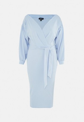 Missguided Size Blue Plunge Wrap Midi Dress