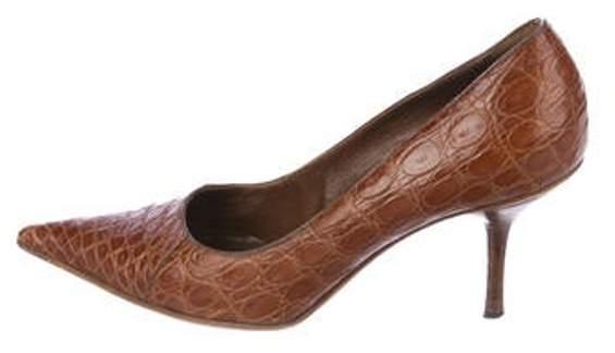 9359c925998c3 Crocodile Pointed-Toe Pumps Brown Crocodile Pointed-Toe Pumps