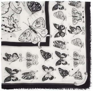 Alexander McQueen White and Black Inked Butterfly Shawl Scarf