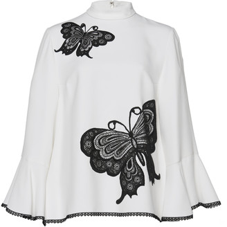 Andrew Gn Butterfly Embroidered Mock Neck Blouse
