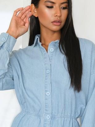 Missguided MissguidedDrawn Oversized Denim Shirt Dress - Light Blue