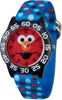 Sesame Street Boys Blue And Black Polka Dot Elmo Time Teacher Strap Watch W003146