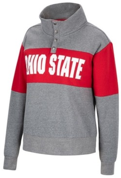 Top of the World Women's Ohio State Buckeyes Colorblock Half-Snap Sweatshirt