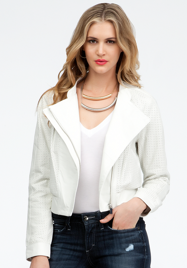 Bebe Perforated Contrast Leather Bomber Jacket