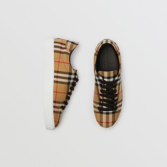 Burberry Vintage Check and Leather Sneakers Size: 35