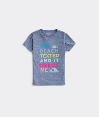 Vineyard Vines Girls' The Beach Texted Short-Sleeve Ringer Tee