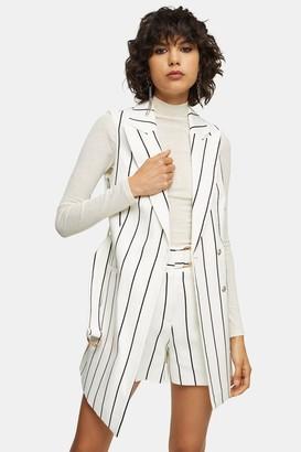 Topshop Womens Black And White Stripe Sleeveless Blazer - Monochrome