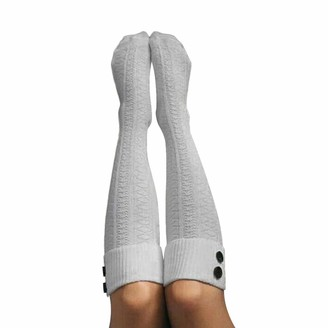 Henri Ladies Knitted Over-the-Knee Wool Socks Women's Knitted Stockings with Funny Button Girls Long Thigh High Socks Winter Socks Warm Gray&Wine Red