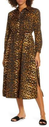 French Connection Leopard Print Long Sleeve Shirtdress