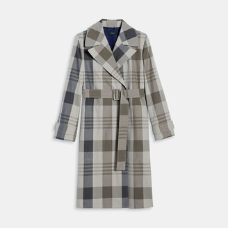 Theory Silk-Cotton Check Military Trench