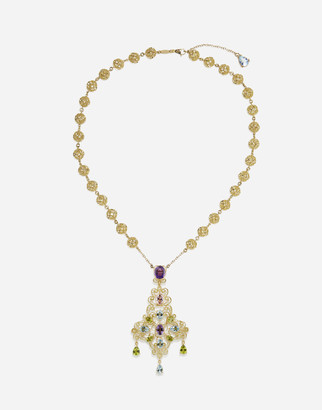Dolce & Gabbana Pizzo Necklace In Yellow Gold Filigree With Amethysts, Aquamarines, Peridots And Morganite