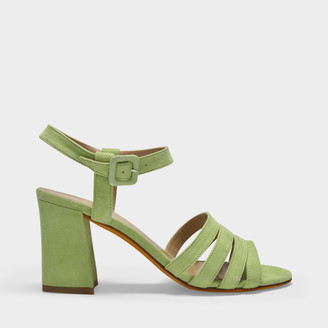 Maryam Nassir Zadeh Palma Strappy Sandals In Green Suede