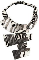 Lanvin Printed Ponyhair & Crystal Hinged Plate Necklace
