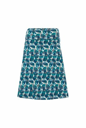 Weird Fish Malmo Organic Cotton Printed Jersey Skirt Bottle Green Size 16