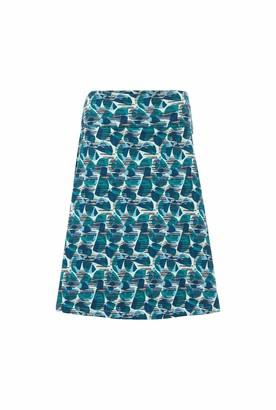 Weird Fish Malmo Organic Cotton Printed Jersey Skirt Bottle Green Size 18