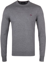 Fred Perry Classic Grey Marl Cotton Knit Crew Neck Sweater