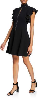 Cinq à Sept Reiko Turtleneck Ruffle-Sleeve Topstitch Dress