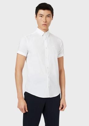 Emporio Armani Slim Fit Poplin Short-Sleeved Shirt
