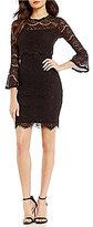 Marina Bell-Sleeve Illusion Sheath Dress