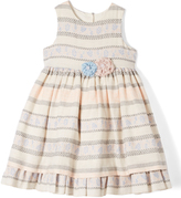 Laura Ashley Peach & Blue Stripe A-Line Dress - Infant