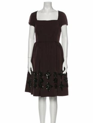 Oscar de la Renta 2006 Knee-Length Dress Brown